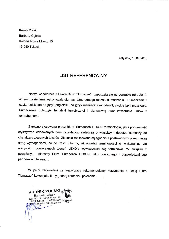 referencje kurnik polski